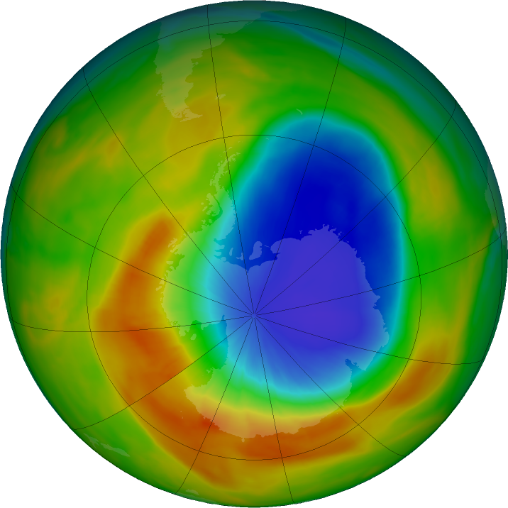 Antarctic ozone map for 07 October 2019