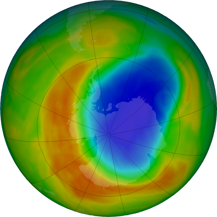 Antarctic ozone map for 08 October 2019