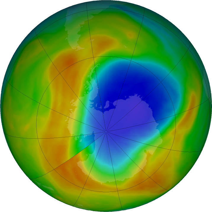 Antarctic ozone map for 09 October 2019