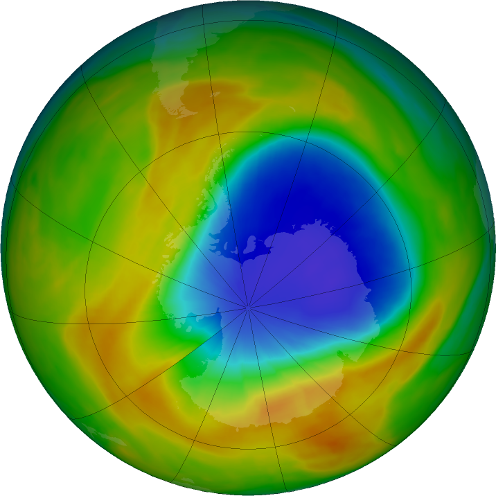 Antarctic ozone map for 10 October 2019