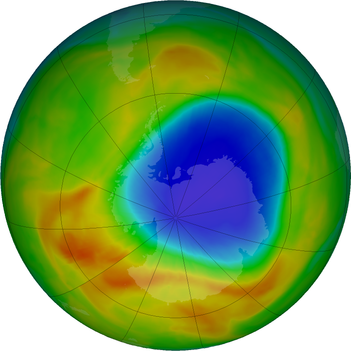 Antarctic ozone map for 11 October 2019
