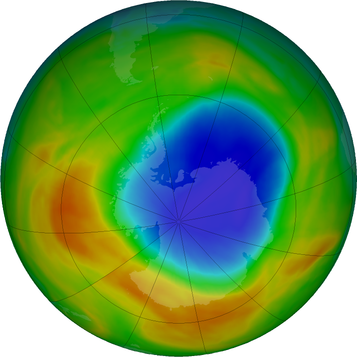 Antarctic ozone map for 14 October 2019