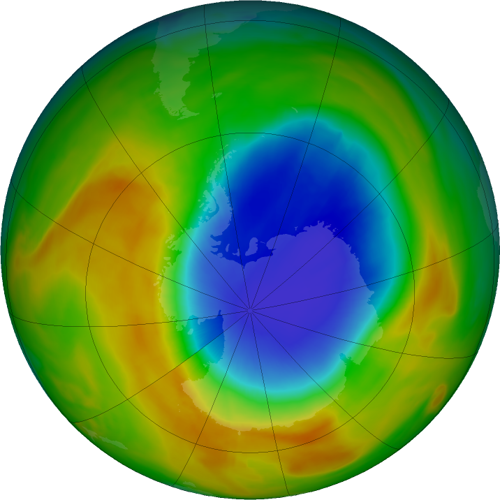 Antarctic ozone map for 16 October 2019
