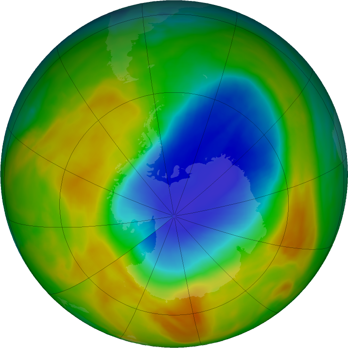 Antarctic ozone map for 17 October 2019