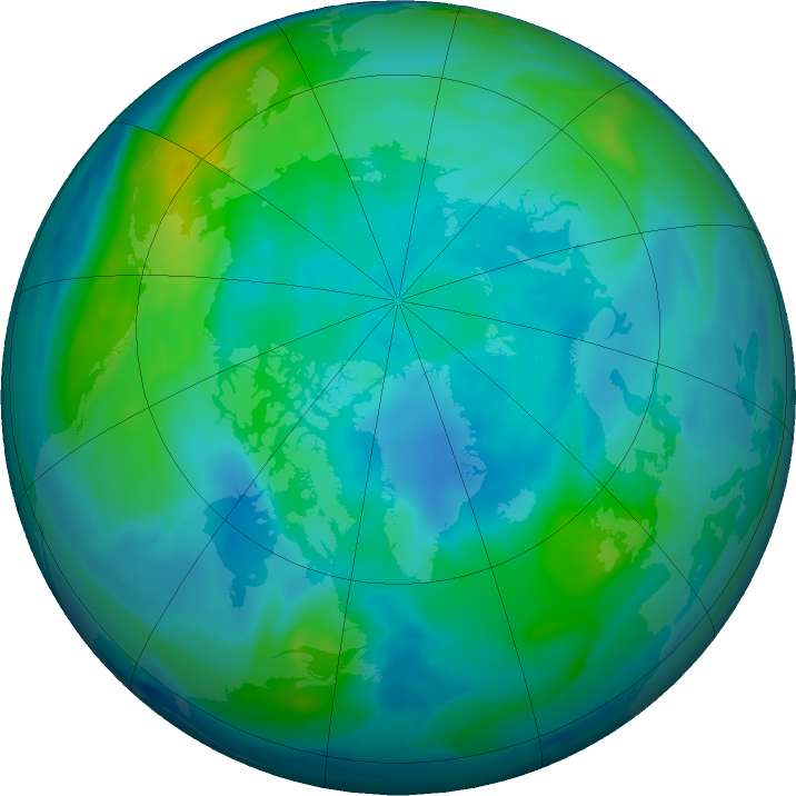 Arctic ozone map for 18 October 2019