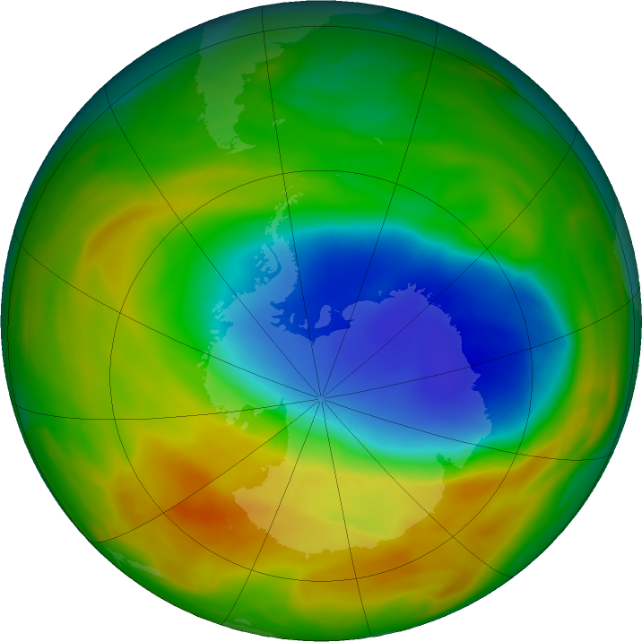Antarctic ozone map for 22 October 2019