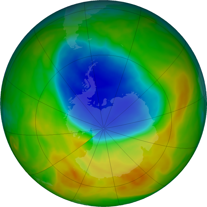 Antarctic ozone map for 27 October 2019
