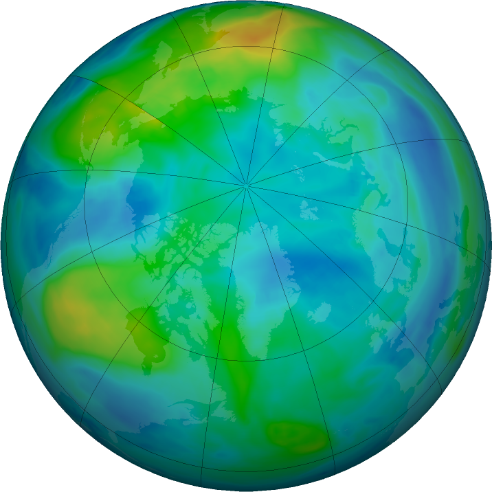 Arctic ozone map for 28 October 2019