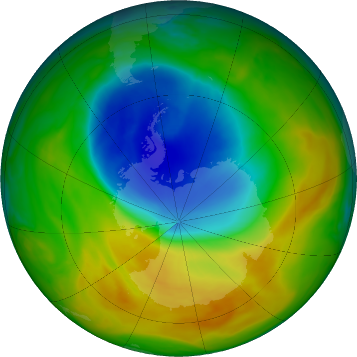 Antarctic ozone map for 28 October 2019