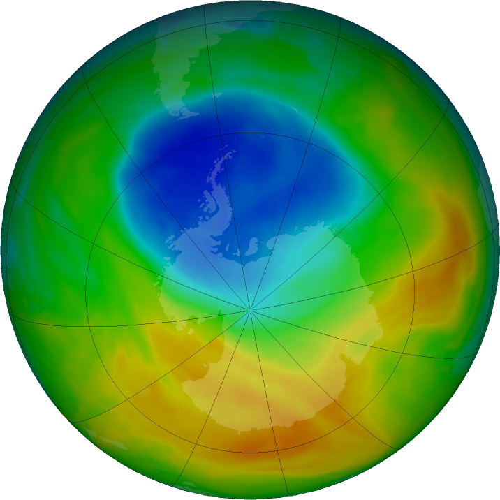 Antarctic ozone map for 29 October 2019
