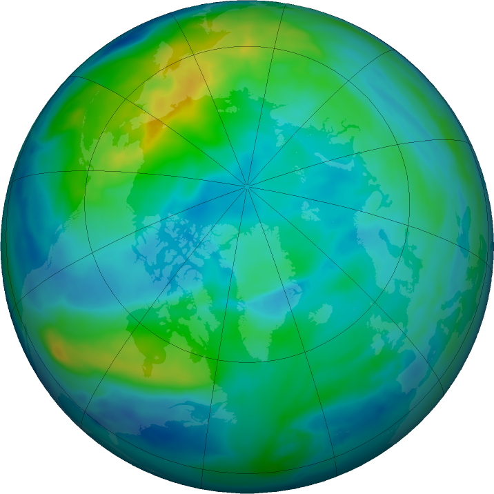 Arctic ozone map for 30 October 2019