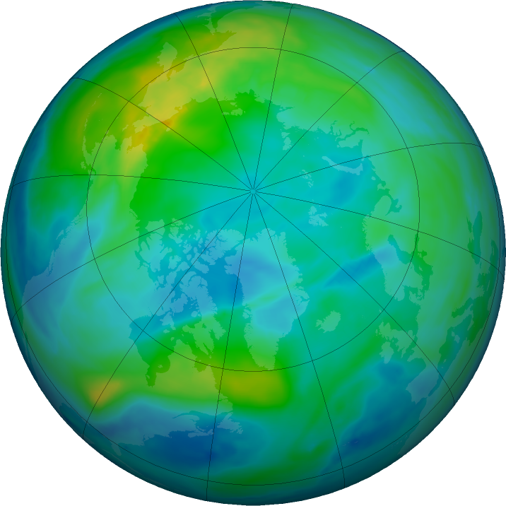 Arctic ozone map for 31 October 2019