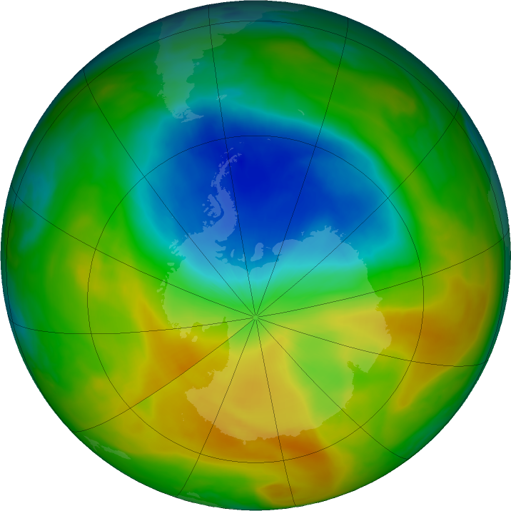 Antarctic ozone map for 31 October 2019