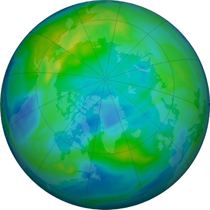Arctic ozone map for 01 November 2019