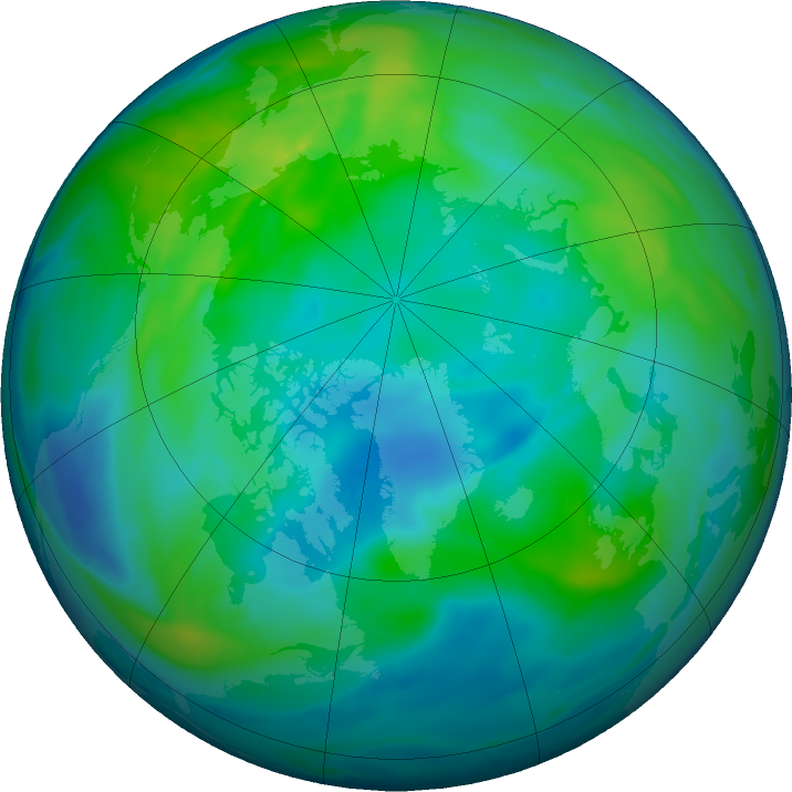 Arctic ozone map for 02 November 2019