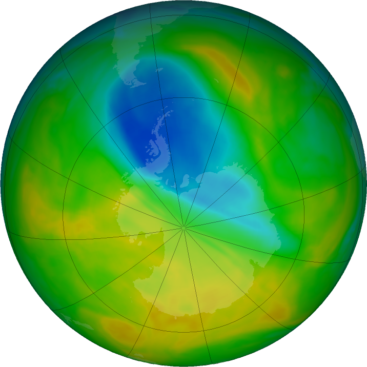 Antarctic ozone map for 08 November 2019