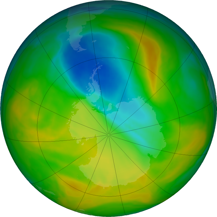 Antarctic ozone map for 09 November 2019