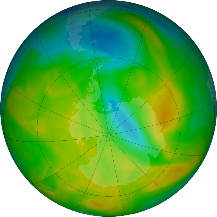 Antarctic ozone map for 11 November 2019