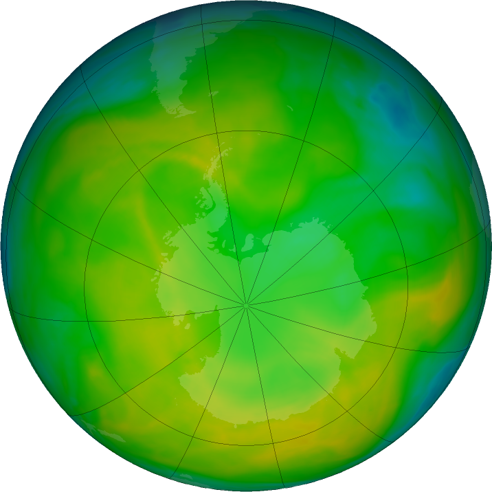 Antarctic ozone map for 18 November 2019