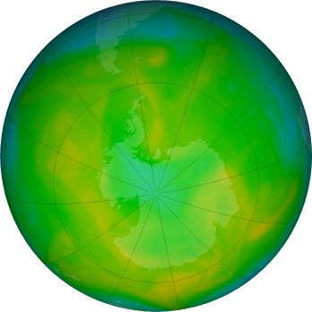 Antarctic ozone map for 2019-11-20