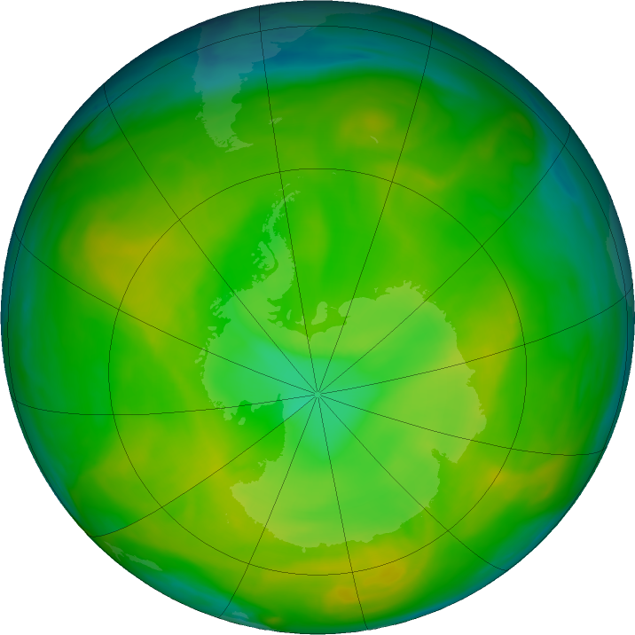 Antarctic ozone map for 21 November 2019