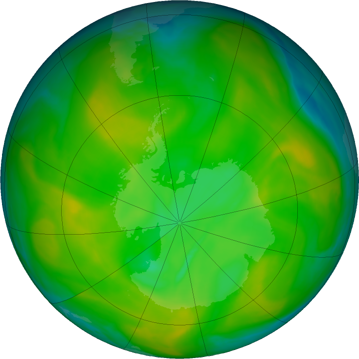 Antarctic ozone map for 25 November 2019