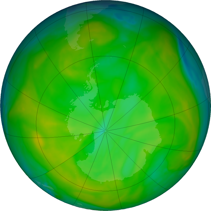 Antarctic ozone map for 27 November 2019