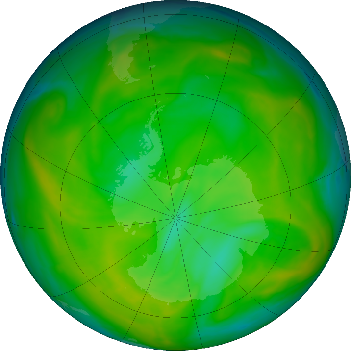 Antarctic ozone map for 29 November 2019