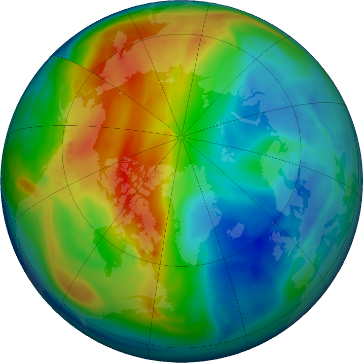 Arctic ozone map for 01 December 2019