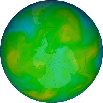 Antarctic ozone map for 2019-12-03