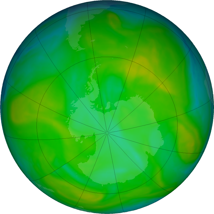 Antarctic ozone map for 05 December 2019