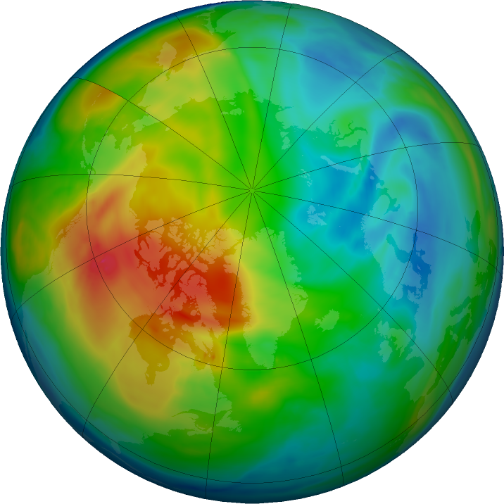 Arctic ozone map for 06 December 2019