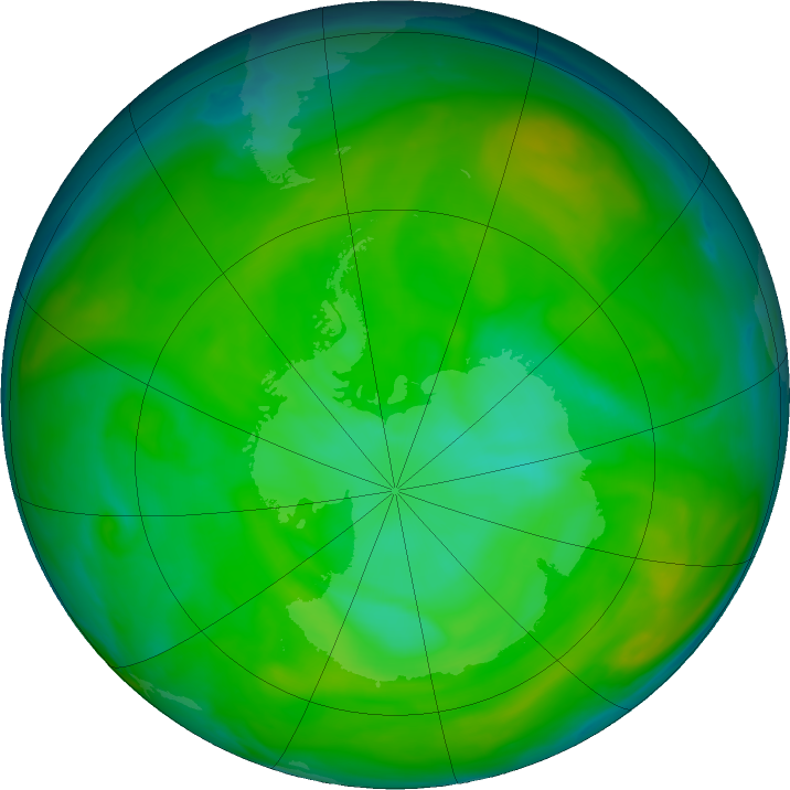 Antarctic ozone map for 10 December 2019