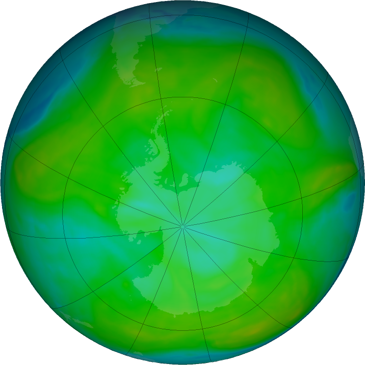 Antarctic ozone map for 15 December 2019