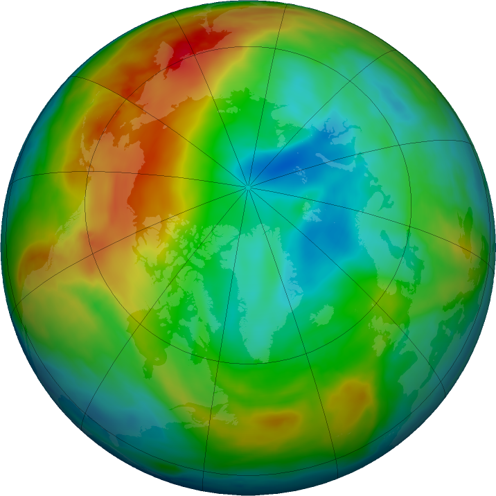 Arctic ozone map for 25 December 2019