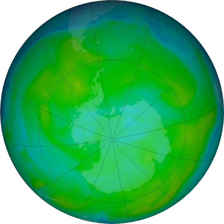 Antarctic ozone map for 27 December 2019