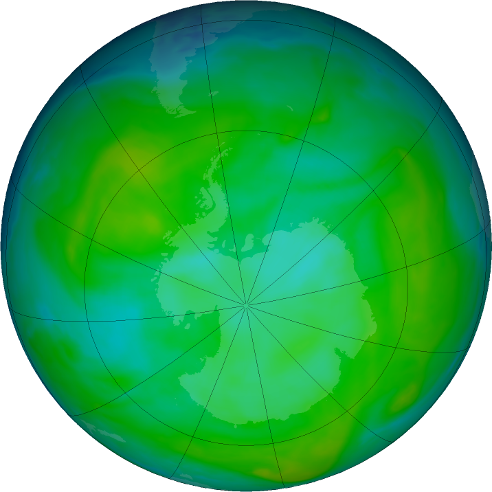 Antarctic ozone map for 29 December 2019