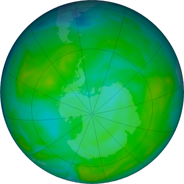 Antarctic ozone map for 30 December 2019