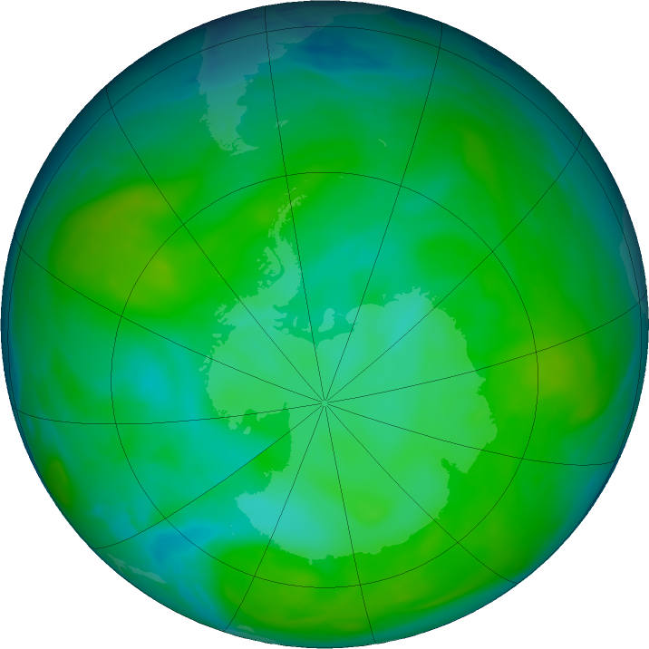 Antarctic ozone map for 31 December 2019
