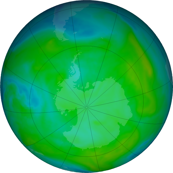 Antarctic ozone map for 03 January 2020