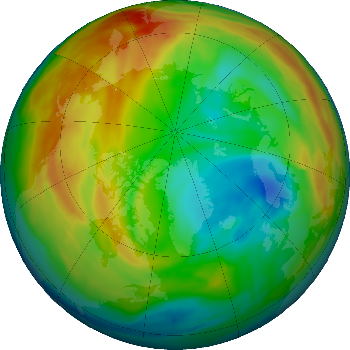 Arctic ozone map for 05 January 2020