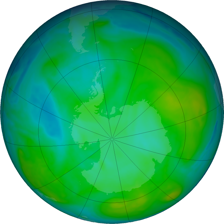 Antarctic ozone map for 06 January 2020