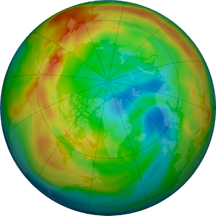 Arctic ozone map for 07 January 2020