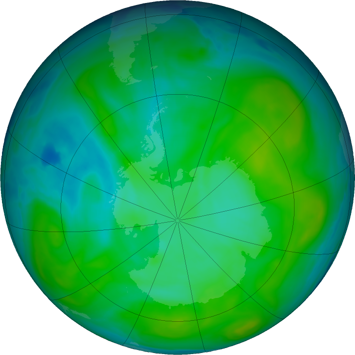 Antarctic ozone map for 07 January 2020