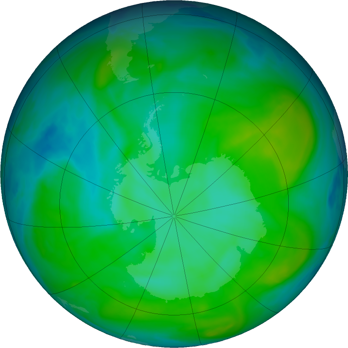 Antarctic ozone map for 08 January 2020