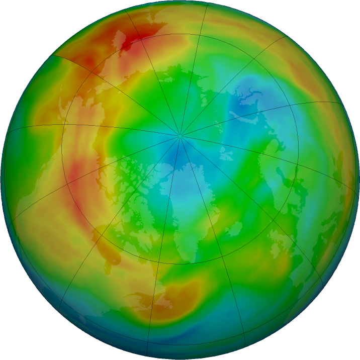 Arctic ozone map for 09 January 2020