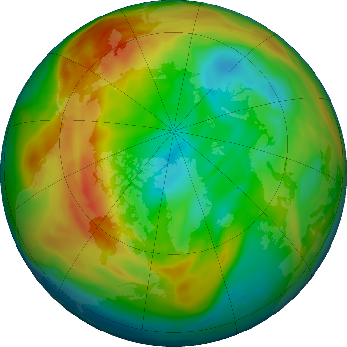 Arctic ozone map for 10 January 2020