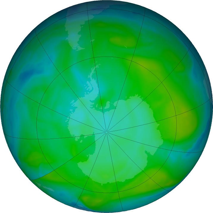 Antarctic ozone map for 10 January 2020