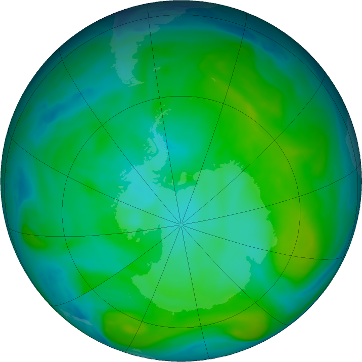Antarctic ozone map for 11 January 2020