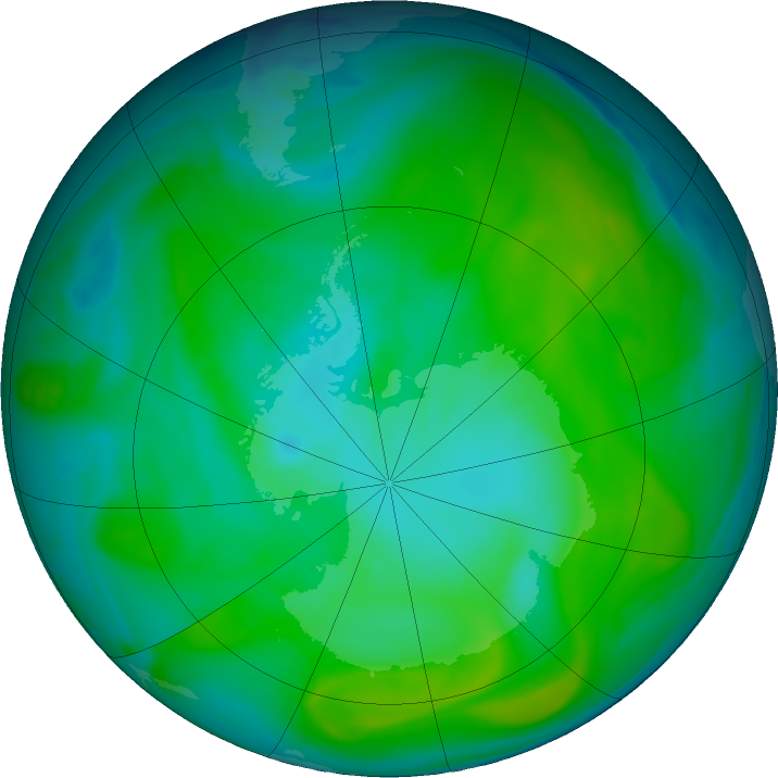 Antarctic ozone map for 13 January 2020